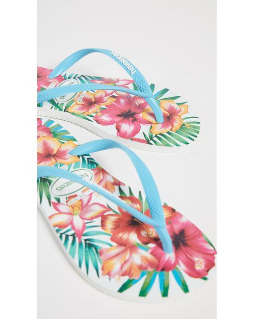 Havaianas White Slim Hibisco Flip Flops