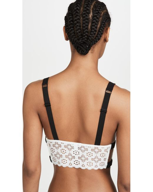 Fleur du Mal White Crochet Lace Triangle Bra