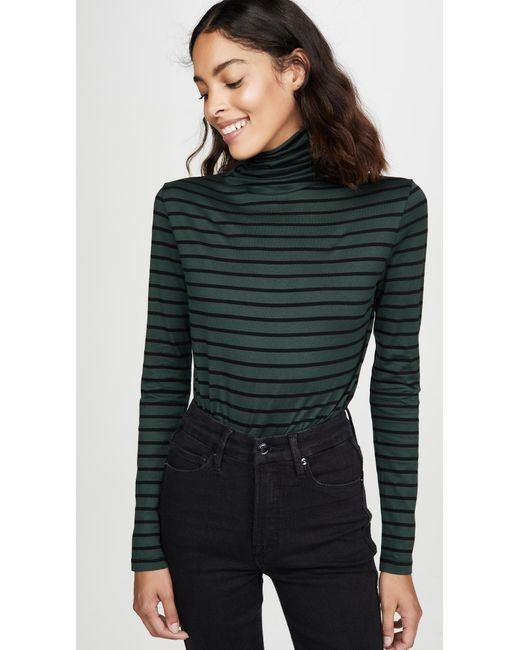 AG Jeans Black Chels Jersey Stripe Turtleneck