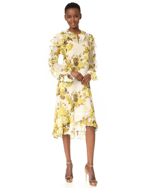 Robert Rodriguez | Yellow High Low Hem Ruffle Dress | Lyst