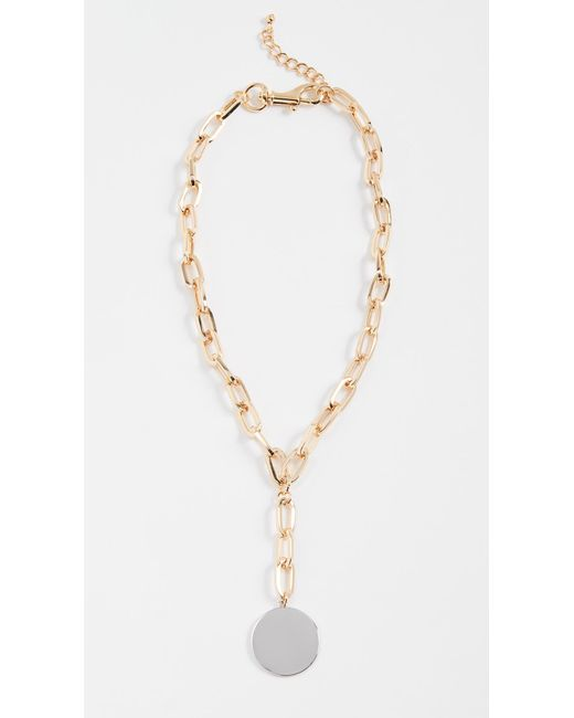 Rebecca Minkoff | Metallic Signature Chain Stone Medallion Necklace | Lyst