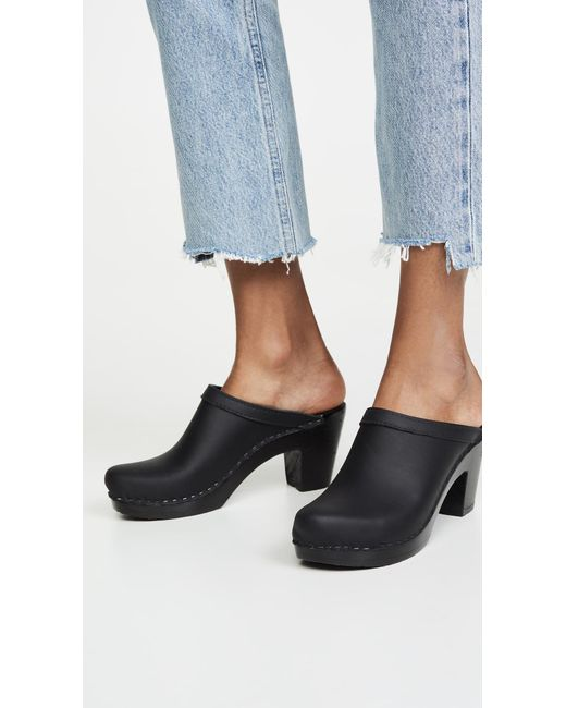 Old School High Heel Clogs in Black