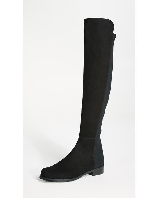 Stuart Weitzman Black 5050 Stretch Suede Boots