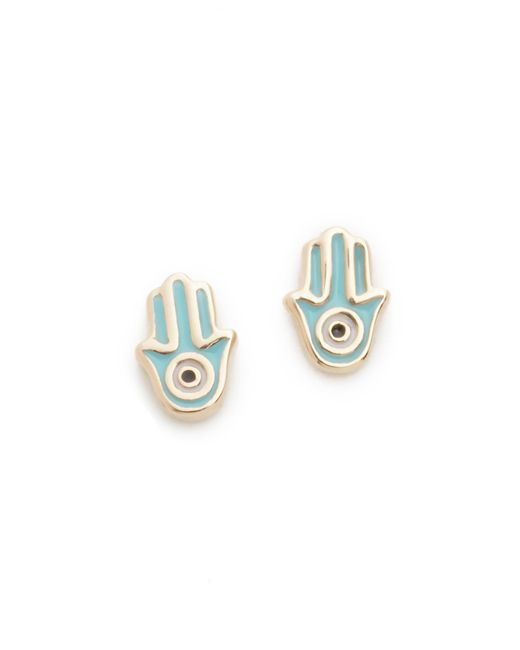 Sydney Evan | Metallic Mini Hamsa Stud Earrings | Lyst