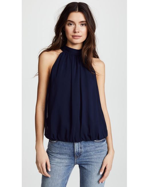 Alice + Olivia - Blue Maris Gathered Halter Top - Lyst