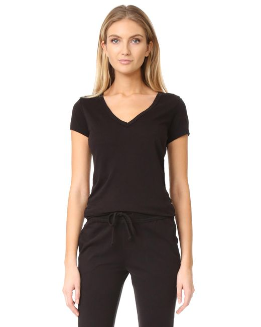 Skin - Black V Neck Tee - Lyst