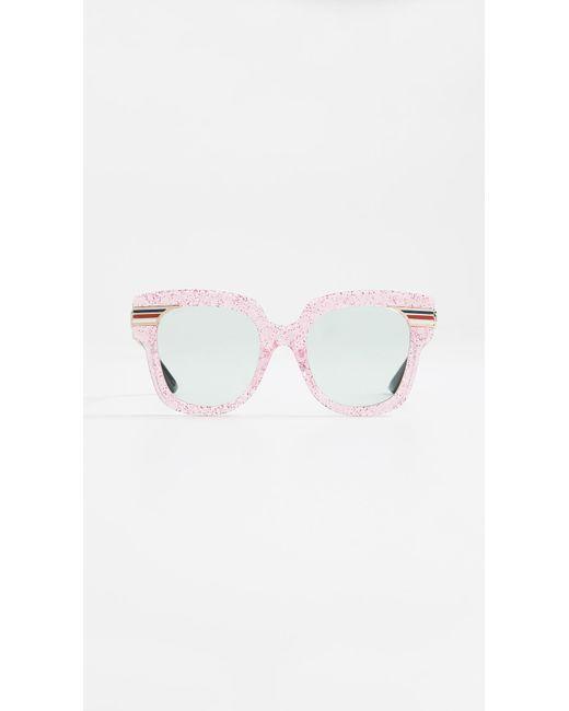 Gucci Multicolor Vintage Web Oversized Sunglasses