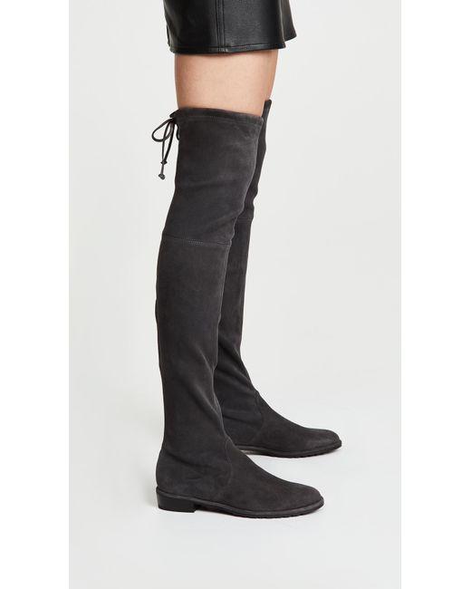 Details zu STUART WEITZMAN Lowland Grey Londra Suede Over The Knee Boots Size 9