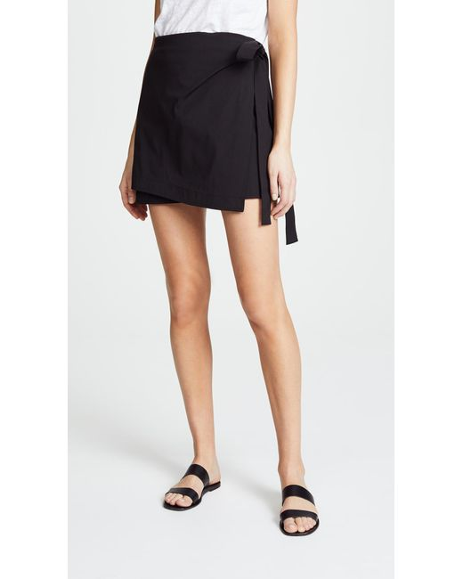 Theory - Black Wrap Tie Skirt - Lyst ...