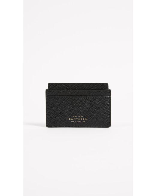 Smythson - Black Panama Flat Card Holder - Lyst