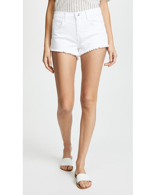 L'Agence White Zoe Perfect Fit Shorts