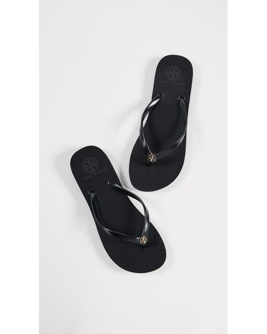 0e5fc7a1a9c0 Lyst - Tory Burch Double T Logo Flat Flip-flops in Black - Save 28%