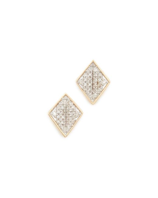 Adina Reyter | Metallic 14k Gold Tiny Pave Folded Diamond Post Earrings | Lyst