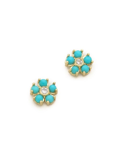 Jennifer Meyer - Blue Turquoise Flower Diamond Stud Earrings - Lyst