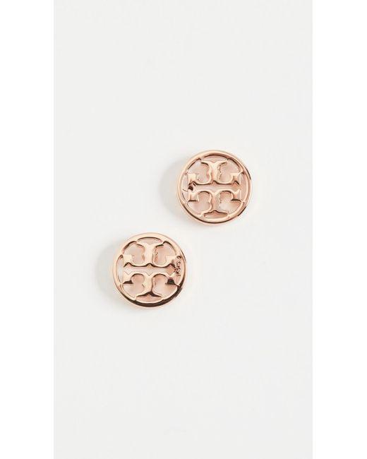 Tory Burch | Pink Logo Circle Stud Earrings | Lyst