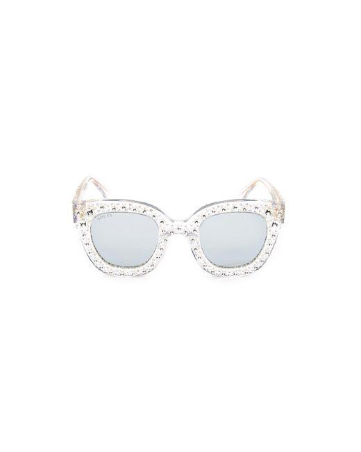 2afa00f2ecee Gucci Swarovski Crystal Square Sunglasses in Metallic - Lyst