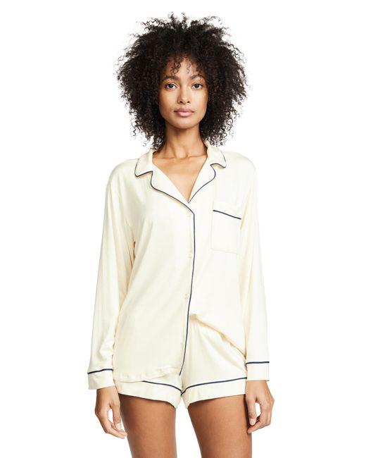 c82b80bfbe4 ... Eberjey - White Gisele Two-piece Long Sleeve   Short Pajama Sleepwear  Set - Lyst