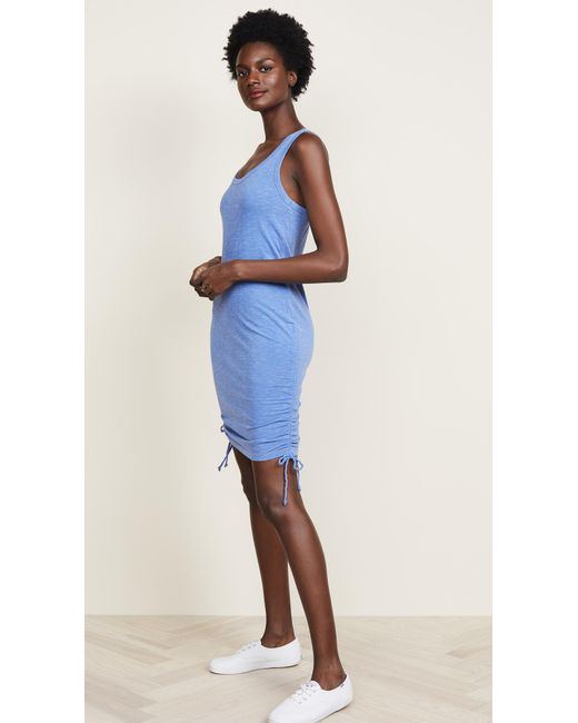 Sundry - Blue Racerback Side Shirred Dress - Lyst
