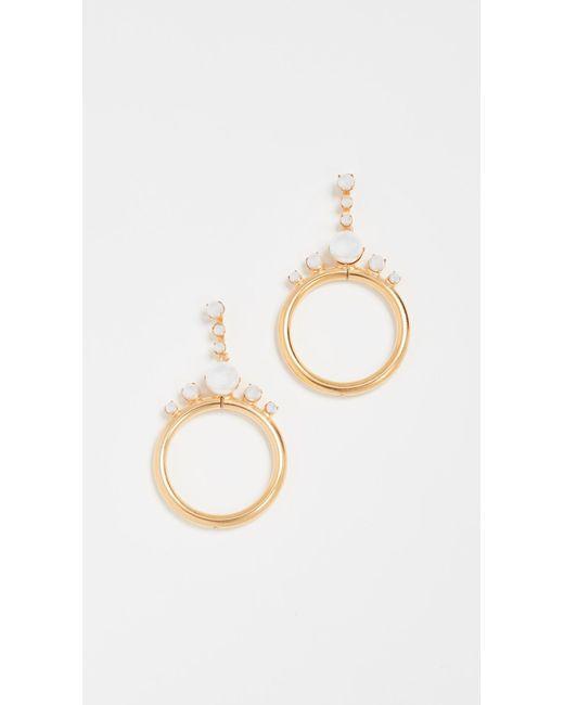 Elizabeth Cole - Metallic Imitation Pearl Hoop Earrings - Lyst