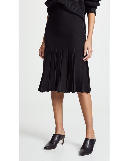 Theory - Black Pleated Skirt - Lyst