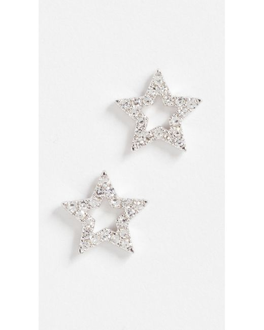 EF Collection - Metallic 14k Gold Diamond Open Star Stud Earrings - Lyst