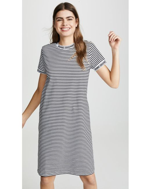 Opening Ceremony - White Intarsia-trimmed Striped Cotton-jersey Dress - Lyst