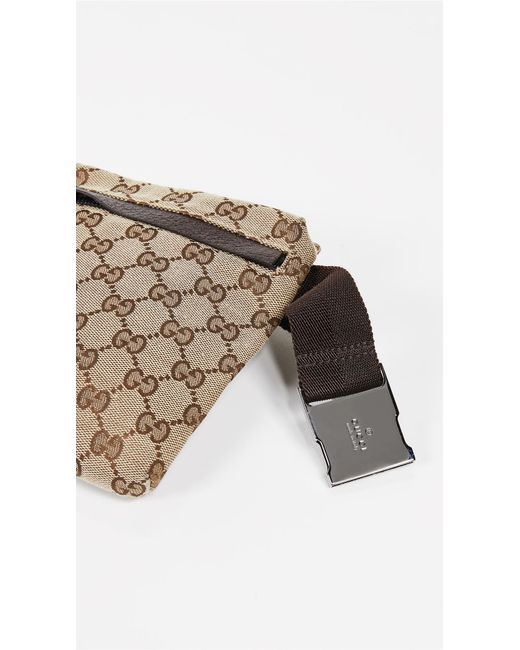 db8b76d6c4ac ... What Goes Around Comes Around - Gucci Brown Coated Canvas Waist Pouch -  Lyst ...
