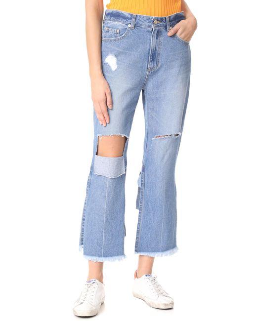 SJYP | Blue Back Strap Detail Jeans | Lyst