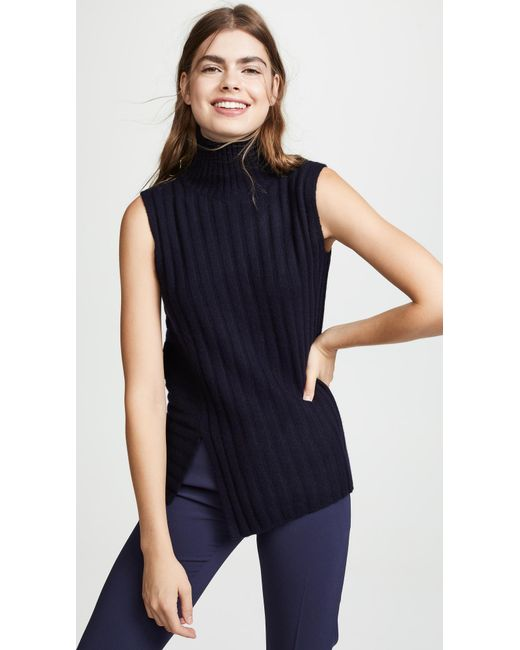 d79881815aee19 Lyst - Vince Rib Sleeveless Turtleneck Sweater in Blue - Save 40%