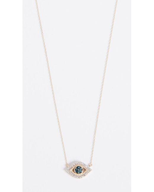 Adina Reyter Metallic 14k Gold Tiny Pave Evil Eye Necklace