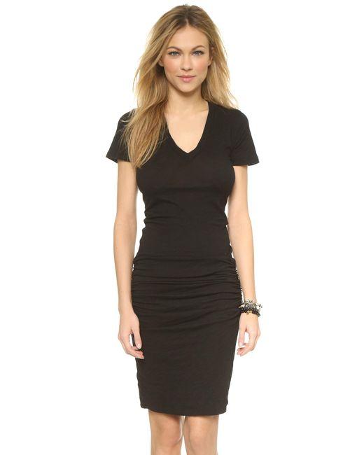 Monrow - Black V Neck Dress - Lyst
