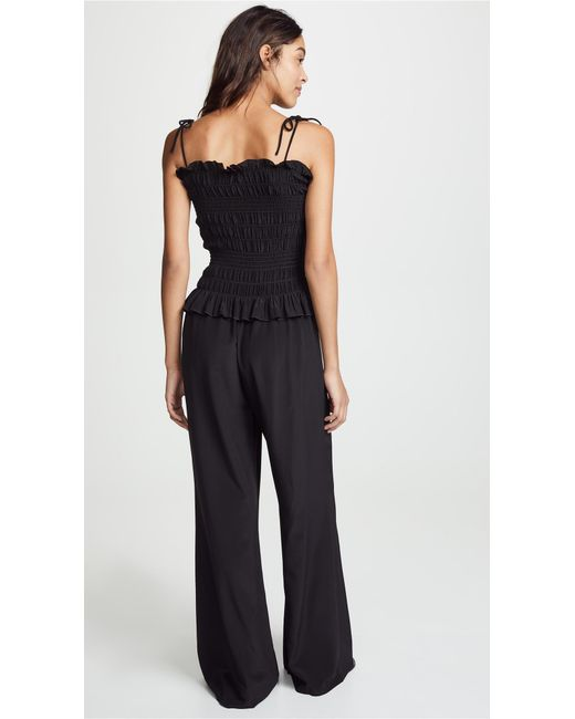 0e8c1ff80ae Lyst - Tory Burch Smocked Jumpsuit in Black - Save 4%