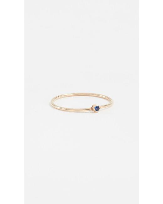 Jennifer Meyer Blue Thin Ring With Sapphire