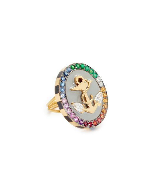 Holly Dyment | Metallic 18k Gold Anchor Ring With Rainbow Stones | Lyst