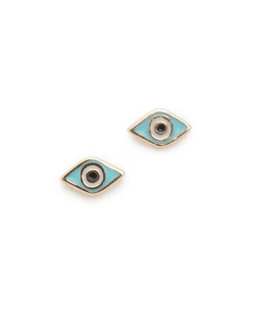 Sydney Evan   Metallic Mini Evil Eye Studs   Lyst