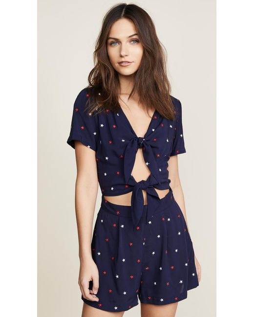 Morgan Lane - Blue Rina Romper In Star Embroidery - Lyst
