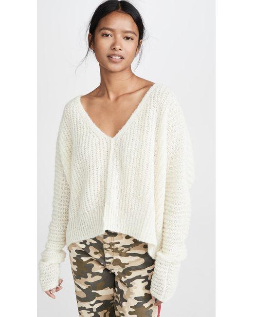 Free People White Moonbeam Alpaca Sweater