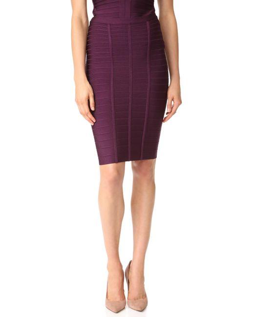 Hervé Léger   Purple Skirt   Lyst
