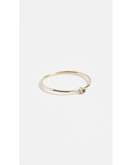 Jennifer Meyer | Green 18k Gold Thin Emerald Ring | Lyst