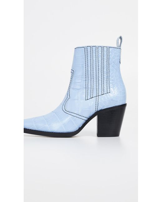 5f91608c9f8 Women's Blue Callie 70 Crocodile-embossed Leather Ankle Boots