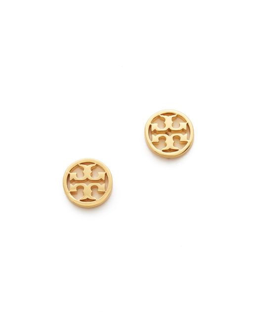 Tory Burch | Metallic Logo Circle Stud Earrings | Lyst