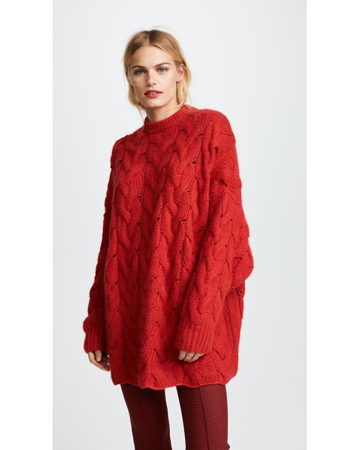 Ryan roche Crew Neck Oversized Cable Sweater in Red - Save 1% | Lyst