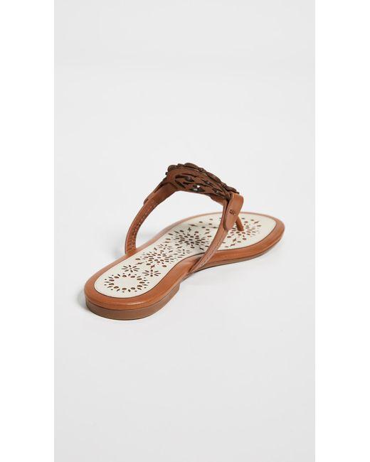 9c75979f681c ... Tory Burch - Brown Miller Scallop Sandals - Lyst ...