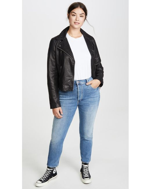new lifestyle large discount good quality Madewell Washed Leather Motorcycle Jacket in Black - Lyst