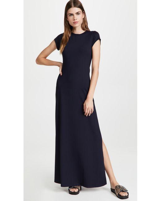 Susana Monaco Blue Side Slit T-shirt Dress