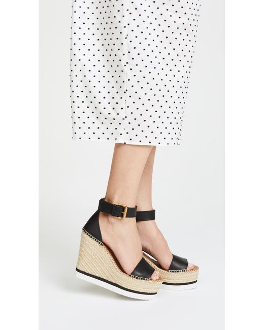 db27a54b0072 See By Chloé Espadrille Wedge Sandals in Black - Save 17% - Lyst