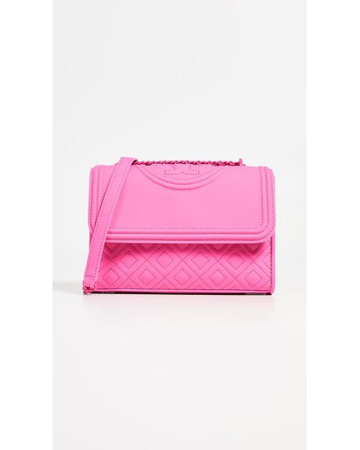 ed62dd55566e Tory Burch - Pink Fleming Matte Small Convertible Shoulder Bag - Lyst ...