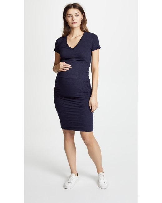 Monrow - Blue Maternity Shirred Tee Dress - Lyst