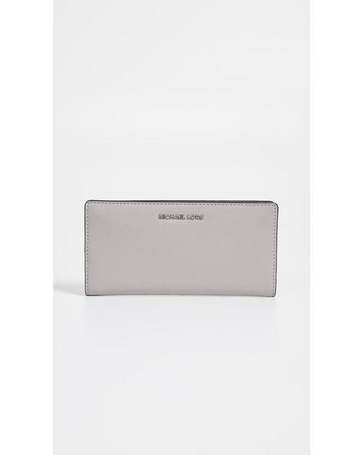b649bf2cc7249 MICHAEL Michael Kors - Gray Large Wallet - Lyst ...