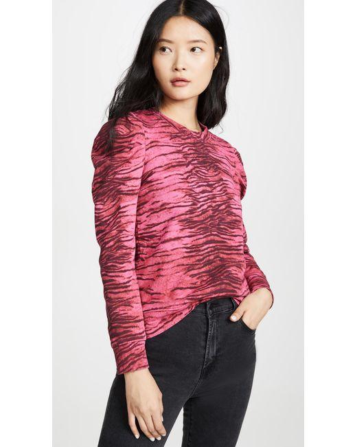Pam & Gela Red Tiger Puff Sleeve Sweatshirt